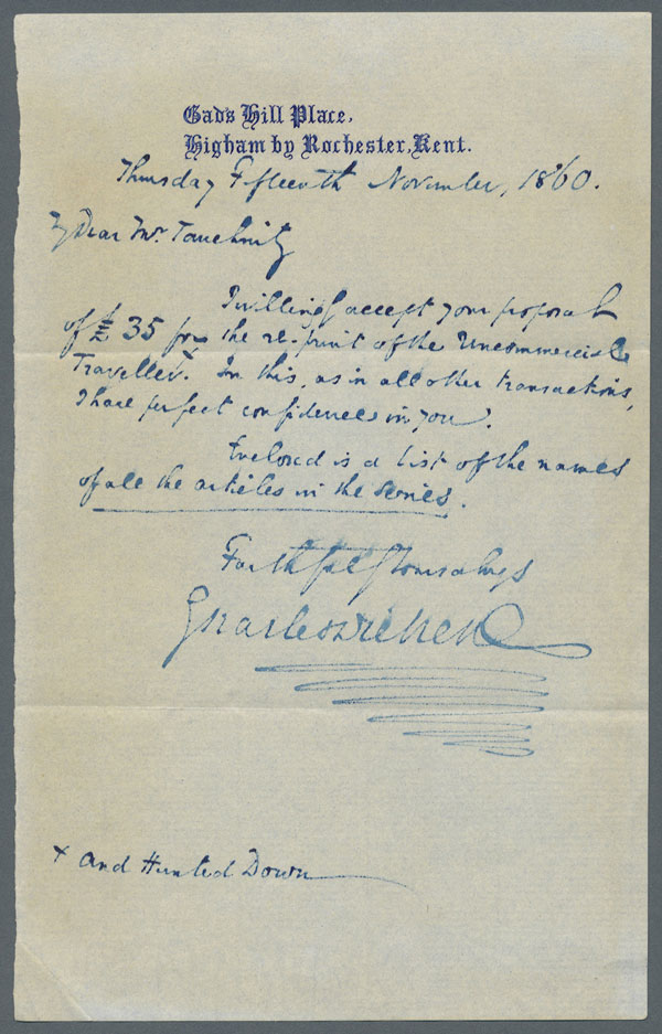 Letter from Charles Dickens