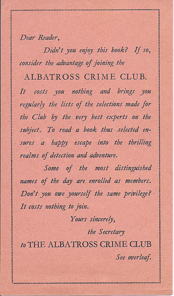 Albatross Crime Club postcard