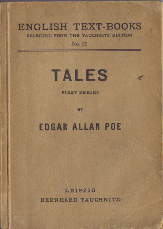 I22 English Text-Books.  Tales by Edgar Allann Poe.  First Series