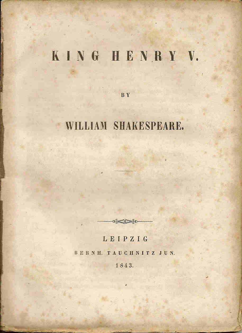 F16 King Henry V title page - Tauchnitz Editions